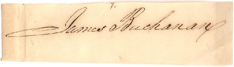 James Buchanan autograph