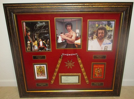 Bruce Lee Autograph display